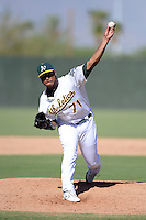 Oakland Athletics pitcher Jeremy Barfield (71) delivers a pitch during an Instructional League game against the San Francisco Giants on September 27, 2013 at Papago Park Baseball Complex in Phoenix, Arizona.  Barfield is being converted to a pitcher after being drafted in 2008 by the Athletics as an outfielder.  (Mike Janes/Four Seam Images)