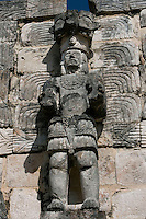 "Standing Atlante, Eastern façade of Codz Poop (""Rolled-up matting"" in Maya), Carved panels, Puuc Architecture, 700-900 AD, Kabah, Yucatan, Mexico. Picture by Manuel Cohen"
