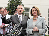 Washington, DC - October 6, 2009 -- United States Senate Majority Leader Harry Reid (Democrat of Nevada) makes remarks after meeting United States President Barack Obama on the U.S. strategy in Afghanistan on Tuesday, October 6, 2009.  At right is United States Speaker of the House Nancy Pelosi. .Credit: Ron Sachs / Pool via CNP