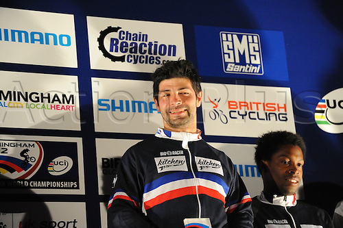 05.27.2012. England, Birmingham, National Indoor Arena. UCI BMX World Championships. Podium trio for the Cruisers Men 30 - 34 Finals at the NIA. ..Mickael Grouzal (France) 3rd....