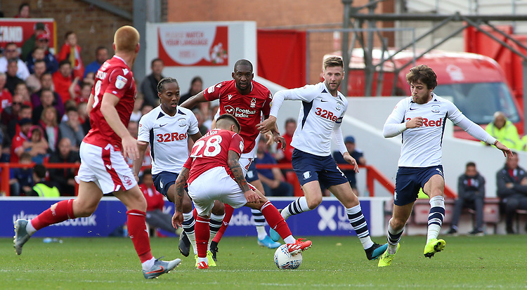 The Preston North End players surround Nottingham Forest's Tiago Silva<br /> <br /> Photographer David Shipman/CameraSport<br /> <br /> The EFL Sky Bet Championship - Nottingham Forest v Preston North End - Saturday 31st August 2019 - The City Ground - Nottingham<br /> <br /> World Copyright © 2019 CameraSport. All rights reserved. 43 Linden Ave. Countesthorpe. Leicester. England. LE8 5PG - Tel: +44 (0) 116 277 4147 - admin@camerasport.com - www.camerasport.com