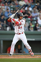 First baseman Pedro Castellanos (24) of the Greenville Drive bats in a game against the Rome Braves on Thursday, April 12, 2018, at Fluor Field at the West End in Greenville, South Carolina. Greenville won, 14-4. (Tom Priddy/Four Seam Images)