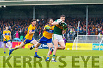 Sean O'Shea Kerry in action against Gordon Kelly Clare during the Munster Senior Football Semi Final between Kerry and Clare at Ennis on Saturday night.