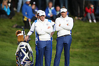 Ian Poulter  and Rory McIlroy (EUR) during the Saturday morning Fourballs of the 2014 Ryder Cup at Gleneagles. The 40th Ryder Cup is being played over the PGA Centenary Course at The Gleneagles Hotel, Perthshire from 26th to 28th September 2014.: Picture David Lloyd, www.golffile.ie: \27/09/2014\