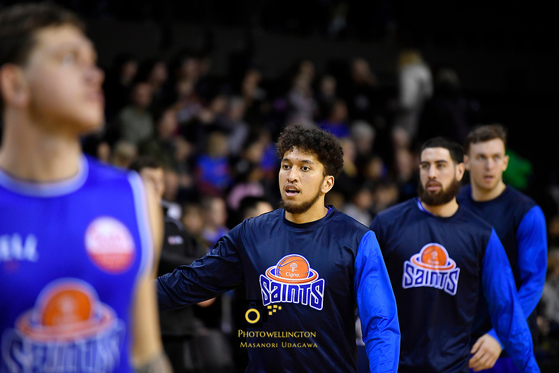 Saints' Theo Johnson during the NBL - Cigna Saints v Manawatu Jets at TSB Bank Arena, Wellington, New Zealand on Sunday 30 June 2019. <br /> Photo by Masanori Udagawa. <br /> www.photowellington.photoshelter.com