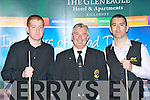 Jordon Browne, Dessie Stinson (Ref) and Philip Arnold who played at the Alex Higgins memorial snooker tournament in the INEC Killarney on Sunday..