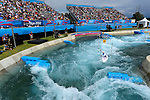LONDON, ENGLAND - JULY 29:  Grzegorz Kiljanek of Poland competes in the Men's Kayak Slalom Prelims during Day 3 of the London 2012 Olympic Games on July 29, 2012 at the Lee Valley White Water Center Center in Hertfordshire, England. (Photo by Donald Miralle)