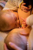 """Close-up of 5 month old twins brestfeeding at the same time.<br /> <br /> Image from the """"We Do It In Public"""" documentary photography project collection: <br />  www.breastfeedinginpublic.co.uk<br /> <br /> Hampshire, England, UK<br /> 11/02/2013"""