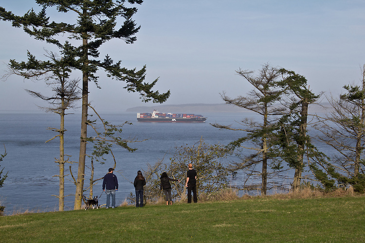 Puget Sound, ship passing Fort Worden State Park, Port Townsend, Washington State, Pacific Northwest, USA,