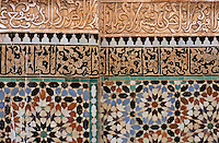 Ornately decorated wall at Medersa Ben Youssef, Marrakesh.