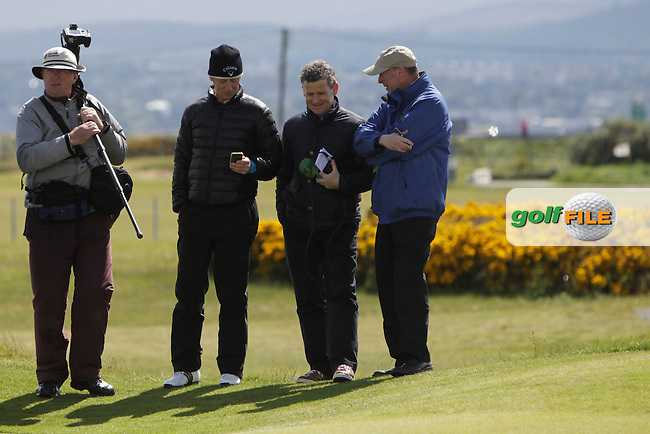 The press gang at the 17th green during Round 4 of The Irish Amateur Open Championship in The Royal Dublin Golf Club on Sunday 11th May 2014.<br /> Picture:  Thos Caffrey / www.golffile.ie