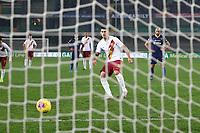 Diego Perotti of AS Roma scores a goal on penalty <br /> Verona 1-12-2019 Stadio Bentegodi <br /> Football Serie A 2019/2020 <br /> Hellas Verona - AS Roma <br /> Photo Gino Mancini / Insidefoto