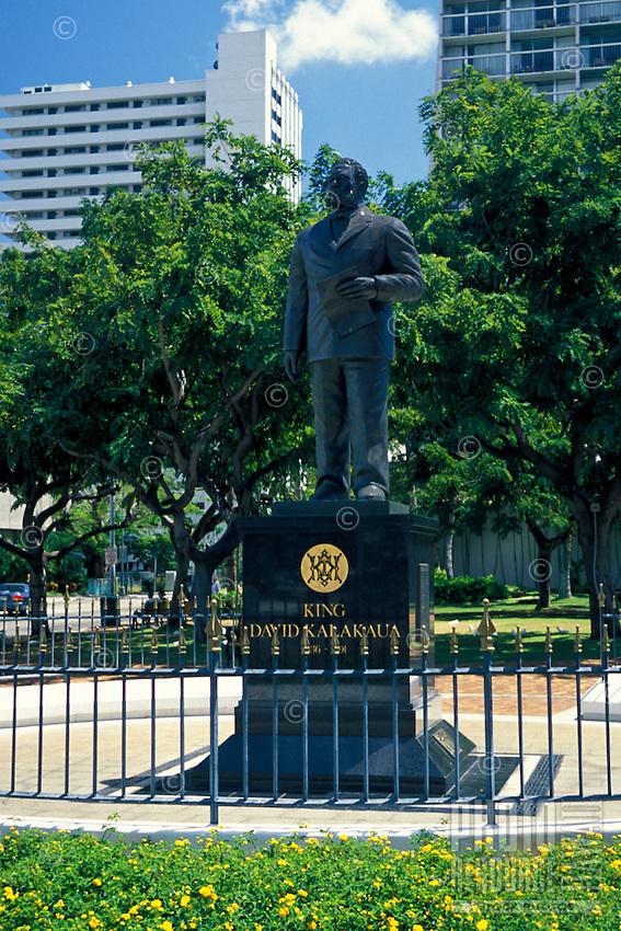 The Statue of King David Kalakaua in  Waikiki Gateway Park.