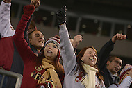 Florida State Seminoles fans cheer on their team during the 2013 ACC Championship at the Bank of America stadium in Charlotte, NC.  (Photo by Don Baxter/Media Images International)