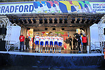 Great Britain team at sign on for the start of the Women Elite Road Race of the UCI World Championships 2019 running 149.4km from Bradford to Harrogate, England. 28th September 2019.<br /> Picture: Eoin Clarke | Cyclefile<br /> <br /> All photos usage must carry mandatory copyright credit (© Cyclefile | Eoin Clarke)