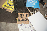 "Discarded placards in Trafalgar Square after the ""Put it to the People"" rally whicc made it's way through central London today. Demonstrators from across the country gathered to call for a second referendum on Brexit and to march through the UK capital finishing with speeches in Parliament Square opposite the Houses of Parliament in Westminster."