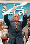 Chiapas Bishop Don Samuel Ruiz Garcia, Nobel Prize nominee, release doves in Mexico City during a peace celebration