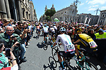 The ceremonial start of Stage 4 a 202km very hilly stage running from Catania to Caltagirone, Sicily, Italy. 8th May 2018.<br /> Picture: LaPresse/Gian Mattia D'Alberto | Cyclefile<br /> <br /> <br /> All photos usage must carry mandatory copyright credit (&copy; Cyclefile | LaPresse/Gian Mattia D'Alberto)