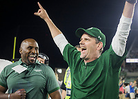 NWA Democrat-Gazette/CHARLIE KAIJO Colorado State Rams head coach Mike Bobo cheers after winning a football game against Arkansas Razorbacks 34-27, Saturday, September 8, 2018 at Colorado State University in Fort Collins, Colo.