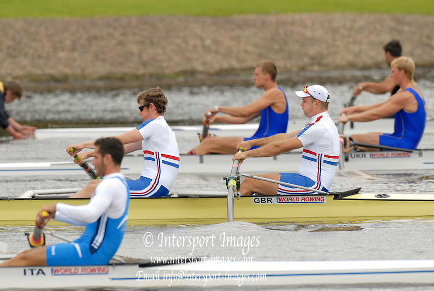 Motherwell, SCOTLAND.  GBR BM2- Bow Tom WILKINSON and Charles BURKITT move away from the star in their semi final, at the 2007 FISA U23 World Championship Regatta, Strathclyde Country Park, North Lanarkshire 28/07/2007 [Mandatory credit Peter Spurrier/ Intersport Images].