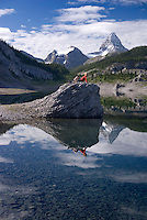 The Highline trail, Alberta and British Columbia, Canada, August 2008. Mt Assiniboine is the ever present landmark behing Ogg Lake Campground. The Banff Highline trail can be hiked in 7 days and runs through Banff National park as well as Assiniboine Provincial park. Photo by Frits Meyst/Adventure4ever.com