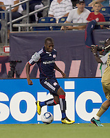 New England Revolution midfielder Sainey Nyassi (17) dribbles down the wing. The Philadelphia Union defeated New England Revolution, 2-1, at Gillette Stadium on August 28, 2010.