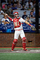 Johnson City Cardinals catcher Zach Jackson (15) throws back to the pitcher during a game against the Danville Braves on July 28, 2018 at TVA Credit Union Ballpark in Johnson City, Tennessee.  Danville defeated Johnson City 7-4.  (Mike Janes/Four Seam Images)