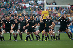 The All Blacks perform the Haka during the match of DHL Hong Kong Bledisloe Cup between New Zealand All Blacks and Australia Wallabies at Hong Kong Stadium on October 30, 2010 in Hong Kong, China.