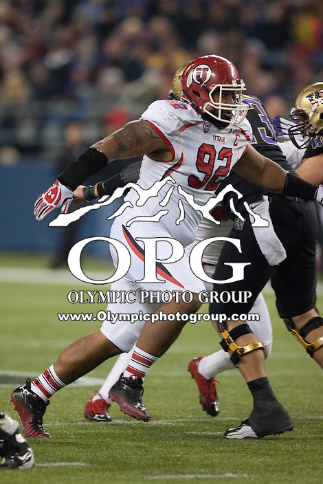 NOV 10, 2012:  Utah Defensive Tackle #92 Star Lotulelei  rushes the passer against Washington.  Washington won 34-15 over Utah at CenturyLink Field in Seattle, WA...