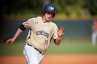 Mount St. Mary's Mountaineers third baseman Ryan Haddaway (29) running the bases during a game against the Ball State Cardinals on March 9, 2019 at North Charlotte Regional Park in Port Charlotte, Florida.  Ball State defeated Mount St. Mary's 12-9.  (Mike Janes/Four Seam Images)