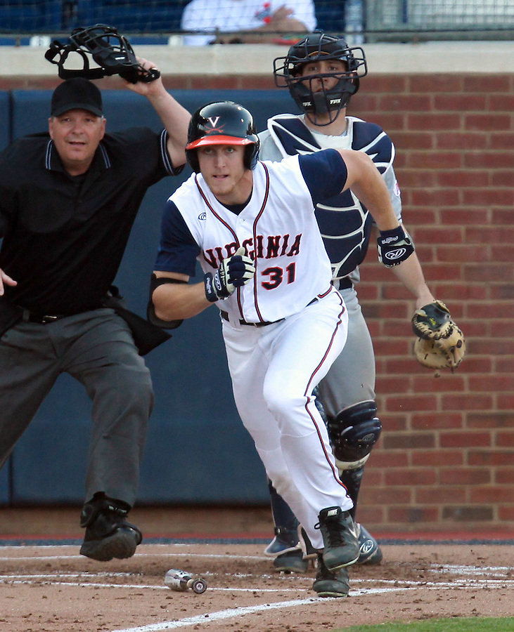 Virginia Joe McCarthy (31) hits a triple in the second inning against George Washington during the game Wednesday at Davenport Stadium in Charlottesville, VA. Photo/The Daily Progress/Andrew Shurtleff