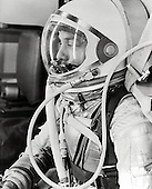 Cape Canaveral, FL - (FILE) -- Profile of astronaut Alan Shepard in his silver pressure suit with the helmet visor closed as he prepares for his upcoming Mercury-Redstone 3 (MR-3) launch. On Friday, May 5th 1961, Alan B. Shepard Jr. became the first American to fly into space. His Freedom 7 Mercury capsule flew a suborbital trajectory lasting 15 minutes 22 seconds. His spacecraft splashed down in the Atlantic Ocean where he and Freedom 7 were recovered by helicopter and transported to the awaiting aircraft carrier U.S.S. Lake Champlain..Credit: NASA via CNP