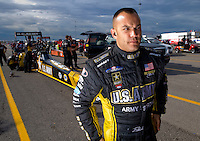 Oct. 31, 2008; Las Vegas, NV, USA: NHRA top fuel dragster driver Tony Schumacher during qualifying for the Las Vegas Nationals at The Strip in Las Vegas. Mandatory Credit: Mark J. Rebilas-