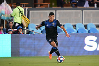 SAN JOSE, CA - JULY 16: Nick Lima #24 of the San Jose Earthquakes during a friendly match between the San Jose Earthquakes and Real Valladolid on July 16, 2019 at Avaya Stadium in San Jose, California.