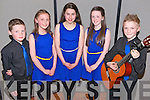 Shane Evans, Brídann Evans, Chloe Lawlor, Clodagh Evans and Cormac Grey (all from Keel) represented Keel at the Mid Kerry Scór na bPaistí Final in the CYMS Killorglin last Friday night.