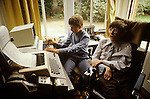 PROFESSOR STEPHEN HAWKING AT HOME  CAMBRIDGE ENGLAND 1981.  1980's UK. Seen here with eldest son Robert.