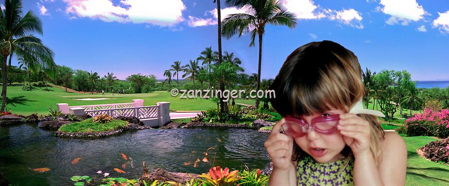 Hawaii, Wailea Gold Course Golf panorama CGI Backgrounds, ,Beautiful Background