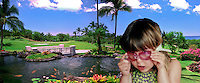 Hawaii, Wailea Gold Course Golf panorama CGI Backgrounds, ,Beautiful Background