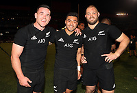PRETORIA, SOUTH AFRICA - OCTOBER 06: Ryan Crotty with Richie Mo'unga and Owen Franks of the New Zealand All Blacks pose for a photo after the win during the Rugby Championship match between South Africa Springboks and New Zealand All Blacks at Loftus Versfeld Stadium. on October 6, 2018 in Pretoria, South Africa. Photo: Steve Haag / stevehaagsports.com