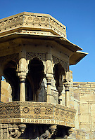 Intricately carved sandstone viewing turret in the MAHARAJA'S PALACE located inside JAISALMER FORT - RAJASTHAN, INDIA