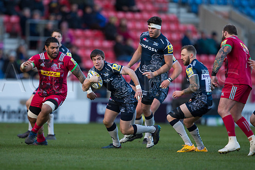 6th January 2018, AJ Bell Stadium, Salford, England; Aviva Premiership rugby, Sale Sharks versus Harlequins; Sale Sharks' AJ MacGinty runs with the ball