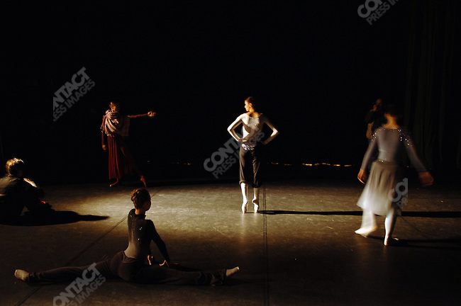 Dancers of the Bolshoi Ballet warmed onstage in the minutes before the curtain went up for a performance of Massine's Les Presages at the Bolshoi Theatre's New Stage in Moscow, Russia, January 25, 2007