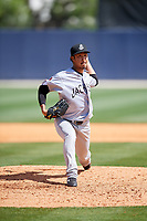 Jackson Generals relief pitcher Yuhei Nakaushiro (13) delivers a pitch during a game against the Biloxi Shuckers on April 23, 2017 at MGM Park in Biloxi, Mississippi.  Biloxi defeated Jackson 3-2.  (Mike Janes/Four Seam Images)
