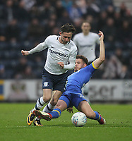 Preston North End's Alan Browne in action with Leeds United's Kalvin Phillips<br /> <br /> Photographer Mick Walker/CameraSport<br /> <br /> The EFL Sky Bet Championship - Preston North End v Leeds United - Tuesday 10th April 2018 - Deepdale Stadium - Preston<br /> <br /> World Copyright &copy; 2018 CameraSport. All rights reserved. 43 Linden Ave. Countesthorpe. Leicester. England. LE8 5PG - Tel: +44 (0) 116 277 4147 - admin@camerasport.com - www.camerasport.com