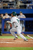 Siena Saints third baseman Yasser Santana (10) at bat during a game against the Florida Gators on February 16, 2018 at Alfred A. McKethan Stadium in Gainesville, Florida.  Florida defeated Siena 7-1.  (Mike Janes/Four Seam Images)