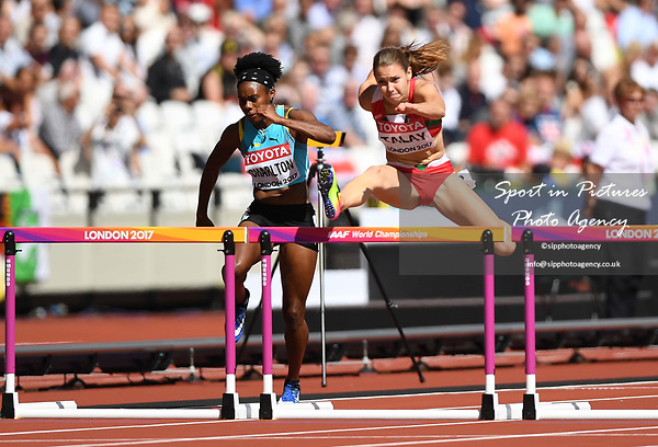 Alina TALAY (BLR) in the womens 100m hurdles heats. IAAF world athletics championships. London Olympic stadium. Queen Elizabeth Olympic park. Stratford. London. UK. 11/08/2017. ~ MANDATORY CREDIT Garry Bowden/SIPPA - NO UNAUTHORISED USE - +44 7837 394578
