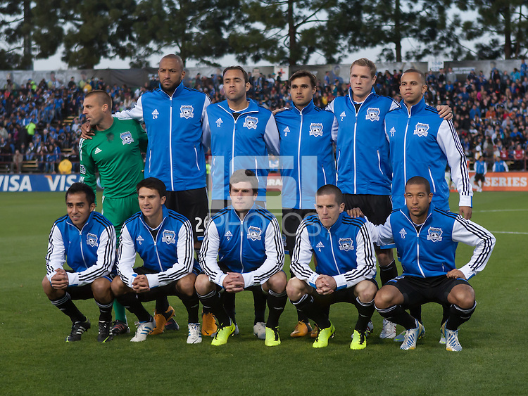 March 10th, 2013: San Jose Earthquakes' starting 11 before start of soccer match against NY Red Bulls at Buck Shaw Stadium, Santa Clara, Ca.   Earthquakes defeated Red Bulls 2-1