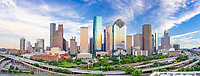 Capture this aerial panorama of Houston Skyline right as the sun was setting and as it was going down it started to back light these wonderful clouds over the city with these wonderful colors of orange, pinks and yellows. We wanted to capture downtown Houston skyline with IH45 in view so an aerial was our best option so this area of the cityscape is looking at the Theater district of the city.  Houston also has a reputation of a place to see top notched performing art along with access to several museums in the area.  The Theater distric performing art has nine major performing art group along with six performance halls.  You can see Opera, a plays, the ballet and any number of music events including the well known Houston Symphony Orchestra.  Houston is a large city with a population around 2.3 million people which makes it the fourth most populous city in the US and the biggest in Texas and the southern US.  The skyline of Houston is a very impressive site with some of the tallest  modern skyscrapers buildings in the US.  In this image you can see the Heritage Plaza, Chevron, Wells Fargo and the tallest building in Houston the J P Morgan Chase Tower at 1002 ft and it is the 17 tallest in the US.  Houston is the seat of Harris county and was founded in 1837 near the banks of the Buffalo Bayou or Allen Landing as it is called today.  The city was name after General San Houston after he won the battle of San Jacinto.  Houston has been a growing city because of the port of houston and railroads along with oil boom from the early 1901.   Houston has other industry that have made it thrive in america such as energy, manufacturing, aeronautics, and transportation. Also NASA mission control is located in the city.  Houston has also taken the lead on health care with many people coming to the Medical Center for top notch doctors and hospital with the latest advancement in medical care.
