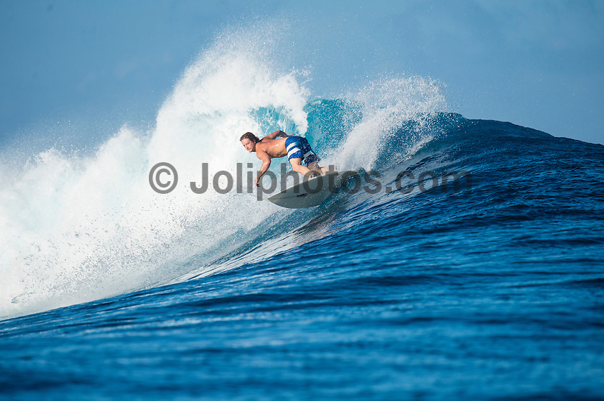 Namotu Island Resort, Namotu, Fiji. (Sunday May 11, 2014) –  The swell was in the 6'range today with variable winds. There were sessions at  Namotu Lefts, Swimming Pools, Wilkes Passage and Cloudbreak.  Photo: joliphotos.com