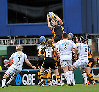 High Wycombe, England. Joe Launchbury of London Wasps wins the line out during the Aviva Premiership match between London Wasps and Sale Sharks at Adams Park on December 23. 2012 in High Wycombe, England.